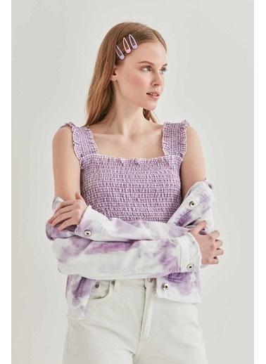 Vitrin VİTRİN Gipeli Kalın Askılı Mini Bluz Lila